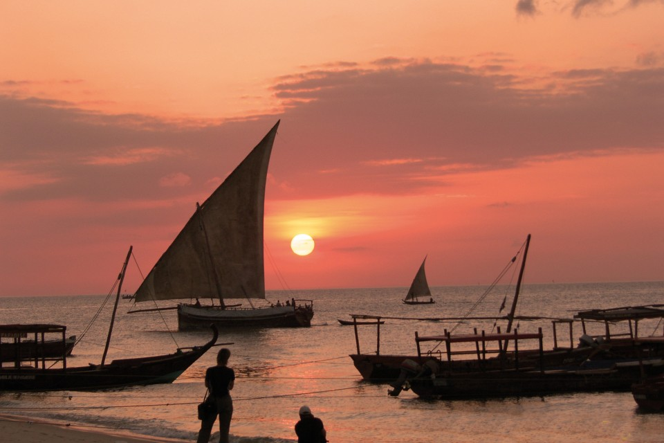 Zanzibar sunset boats