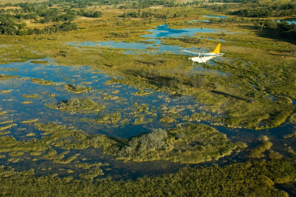 Flight into Okavango Delta