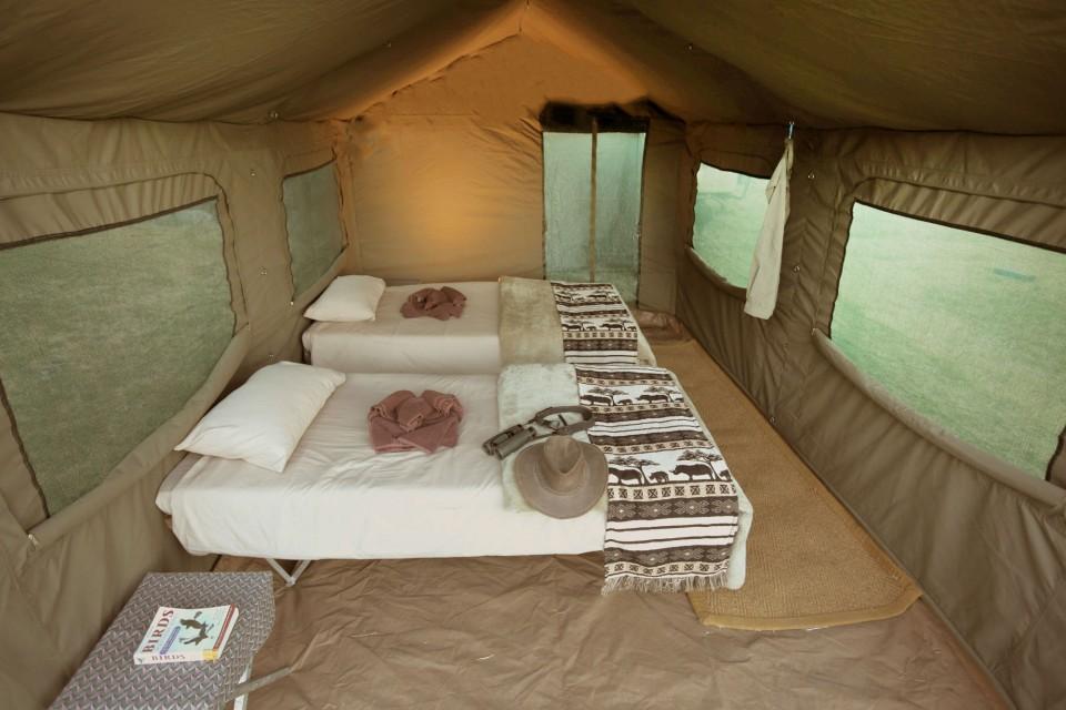 Camp tent interior