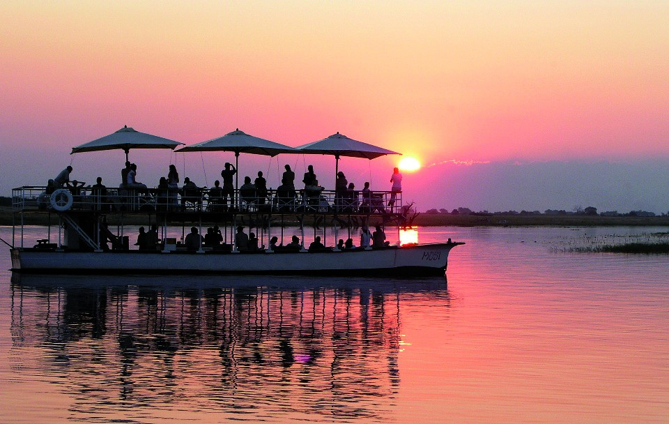 Sunset boat cruise in Chobe