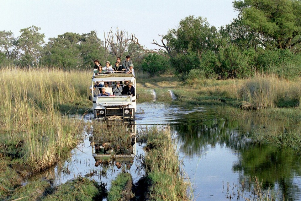 Water crossing in safari vehicle