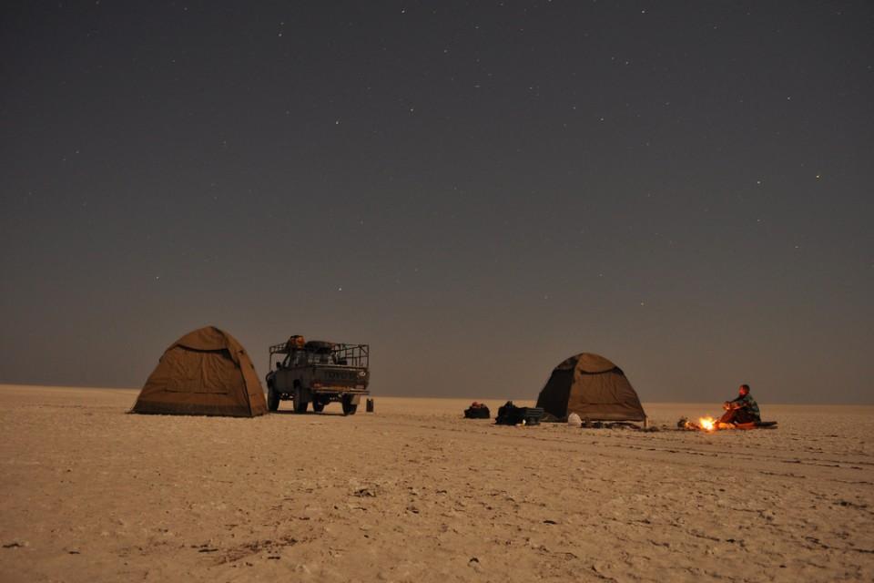 Camping Wild, Makgadikgadi Pan  by abi.bhattachan