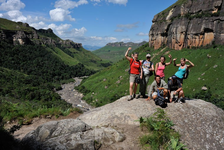 Drakensberg scenery and safari group